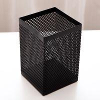 得力908方形笔筒创意时尚金属网纹学生多功能收纳盒笔座办公用品