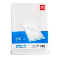 得力100个装  透明A4文件套 L型文件袋单片夹两页夹透明办公文件袋 5700