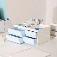得力8904收纳盒ABS树脂强度高办公收纳学生文具整理带笔筒盒子