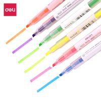 得力(deli)6色双头荧光笔 醒目标记笔 手帐可用水性记号笔6支/盒   开学