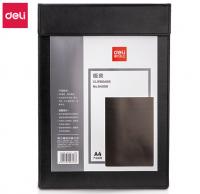 得力(deli)A4皮质板夹书写垫板 会议夹磁性文件夹报告夹带笔夹 黑64506